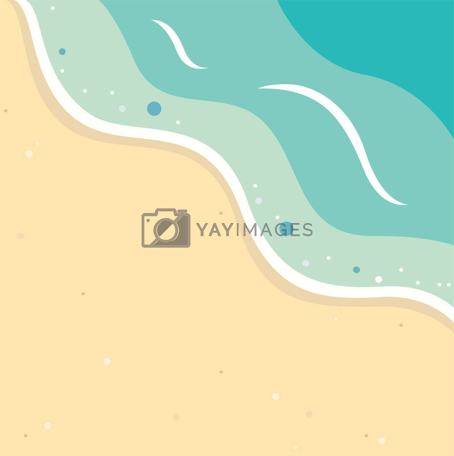 Summer background with beach and ocean waves. Vector