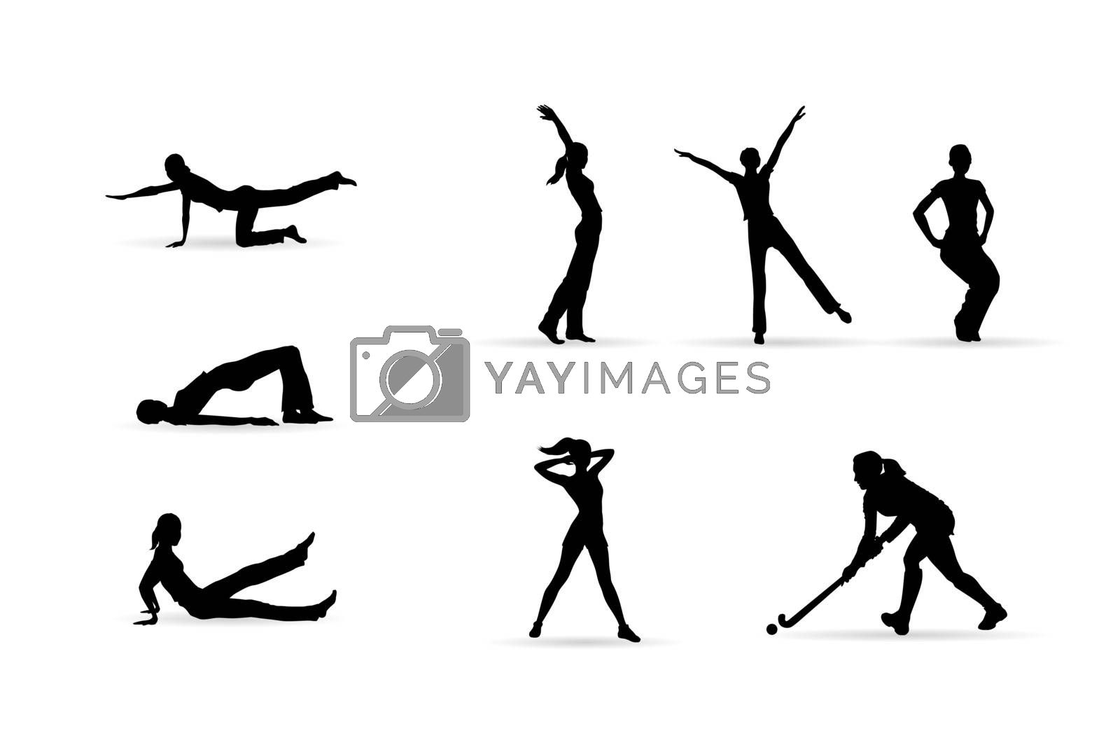 fitness woman silhouettes isolated on white background, editable vector illustration