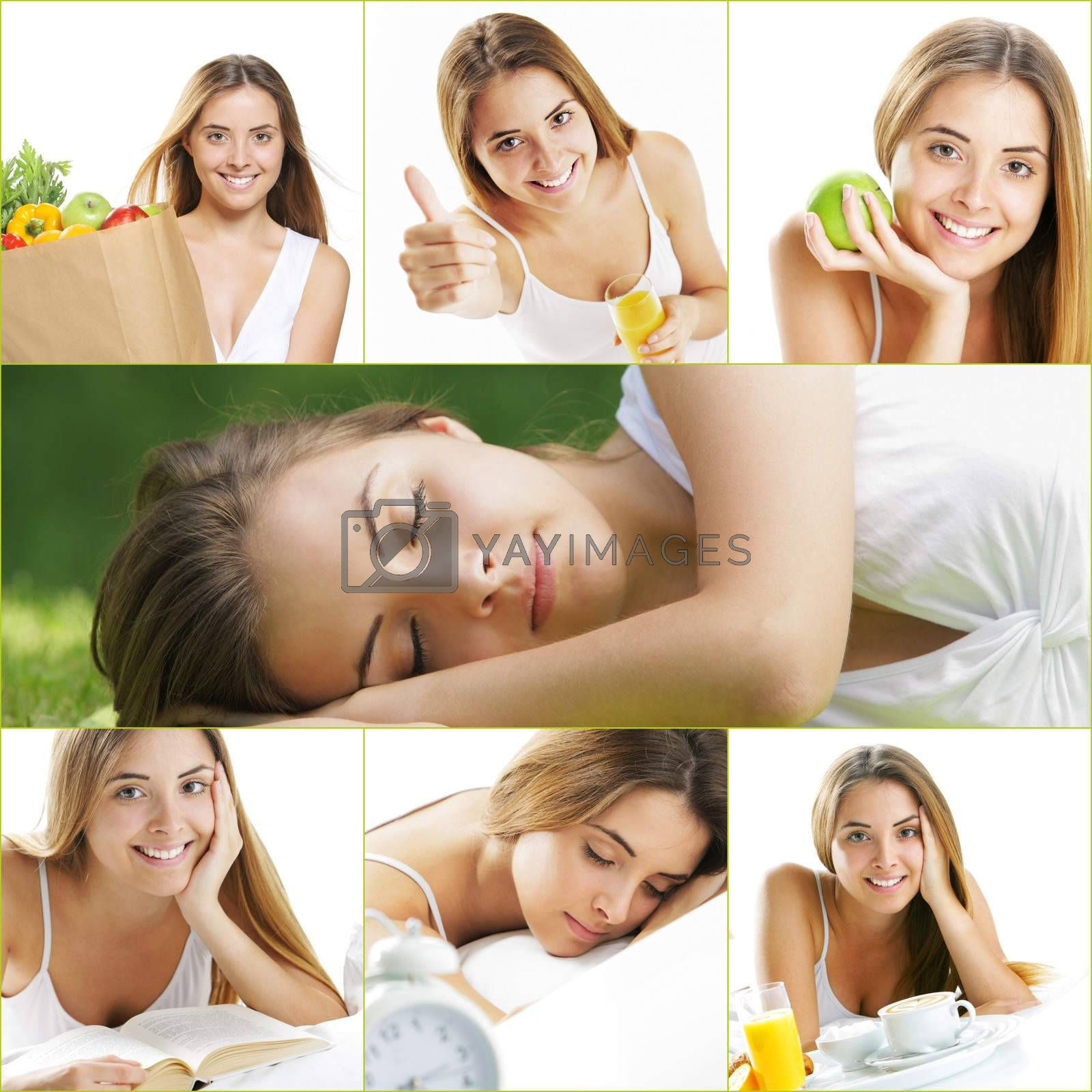 Healthy lifestyle, a collage of images