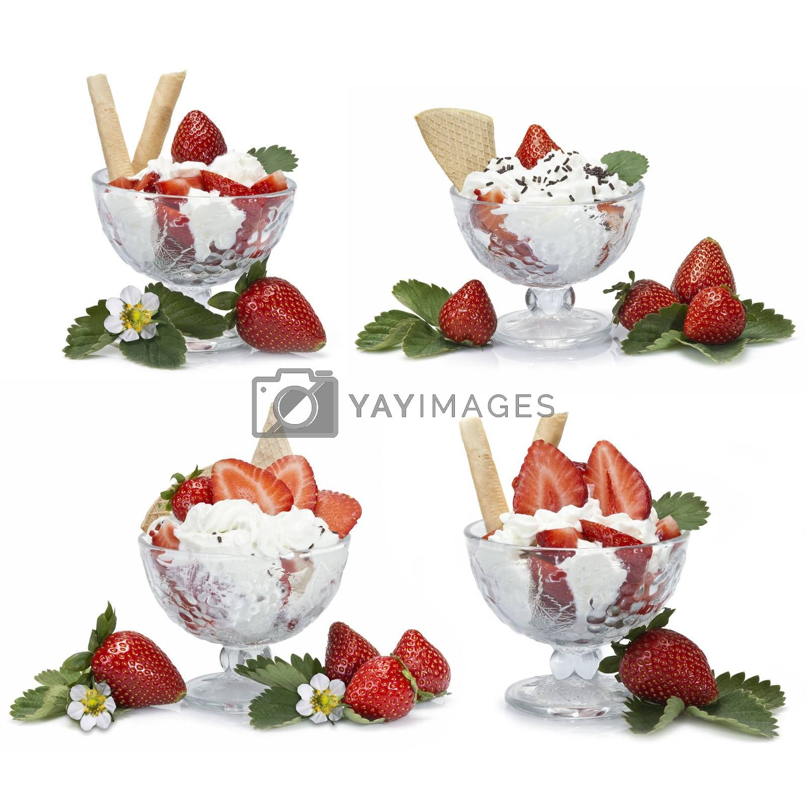 Four different presentations of strawberries with cream cups