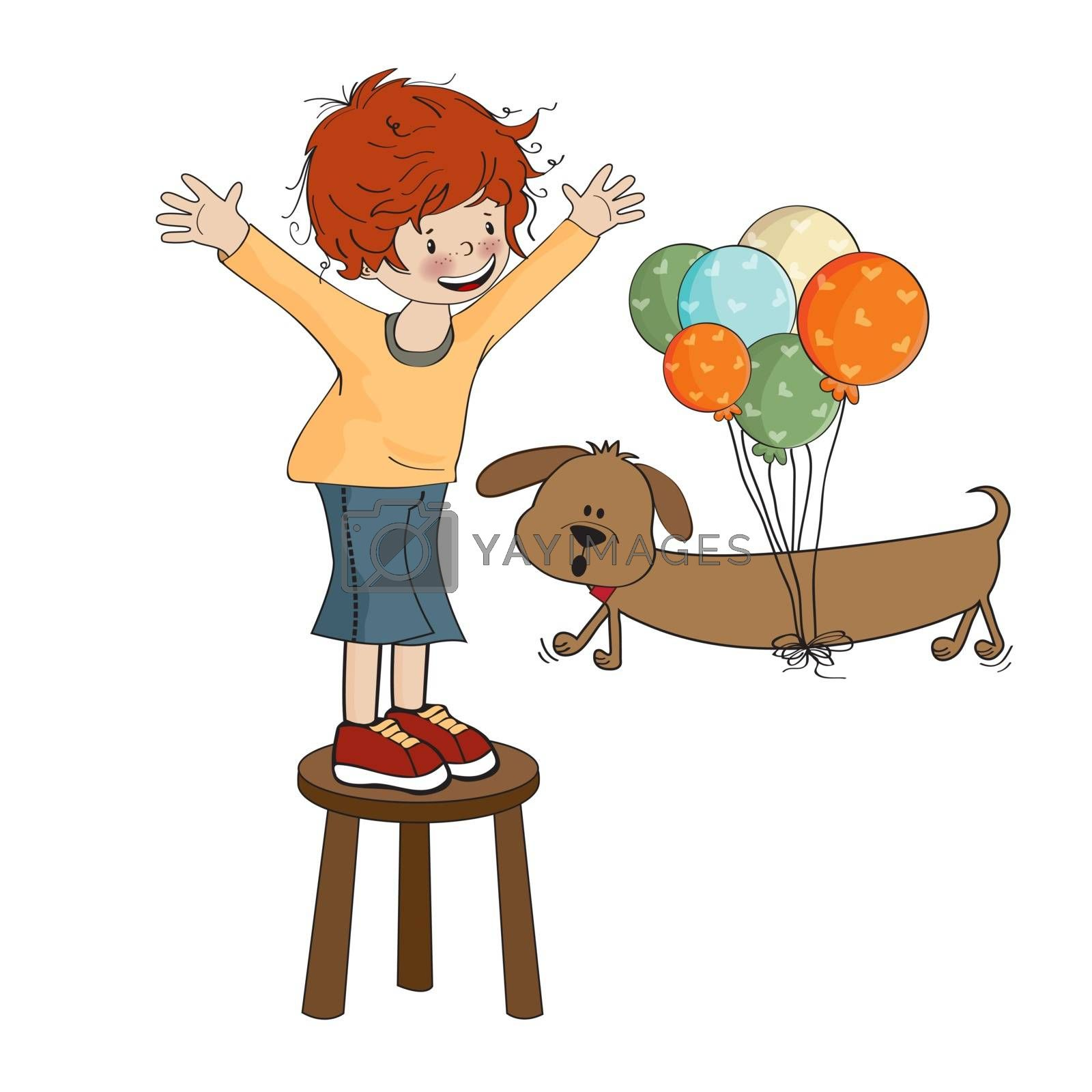 little boy playing with his dog, vector illustration