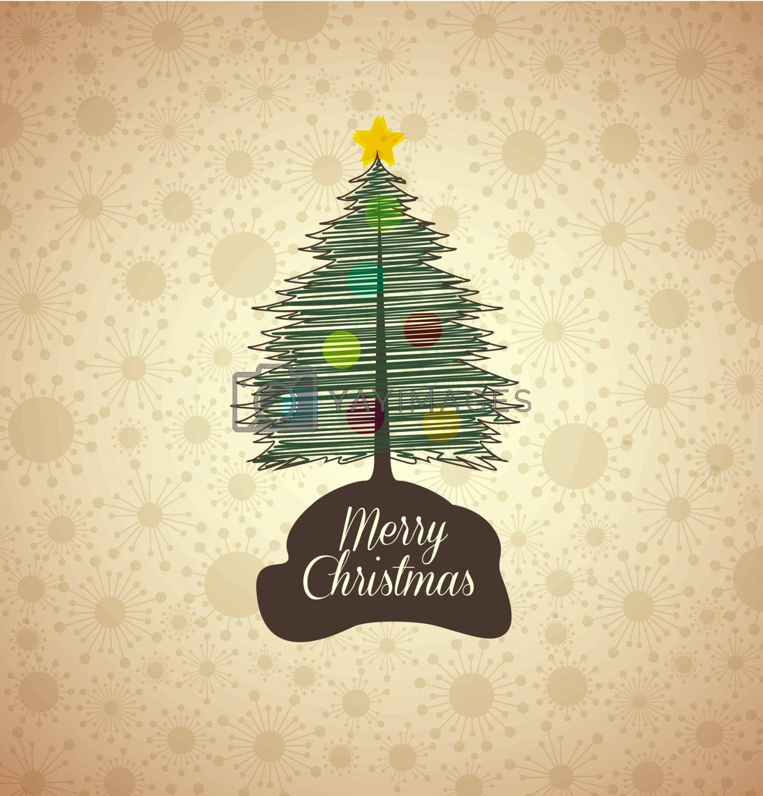 background with Christmas tree, vector illustration