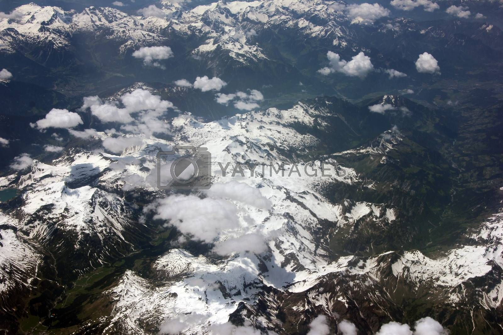 Switzerland and Austria  as seen from an airplane window
