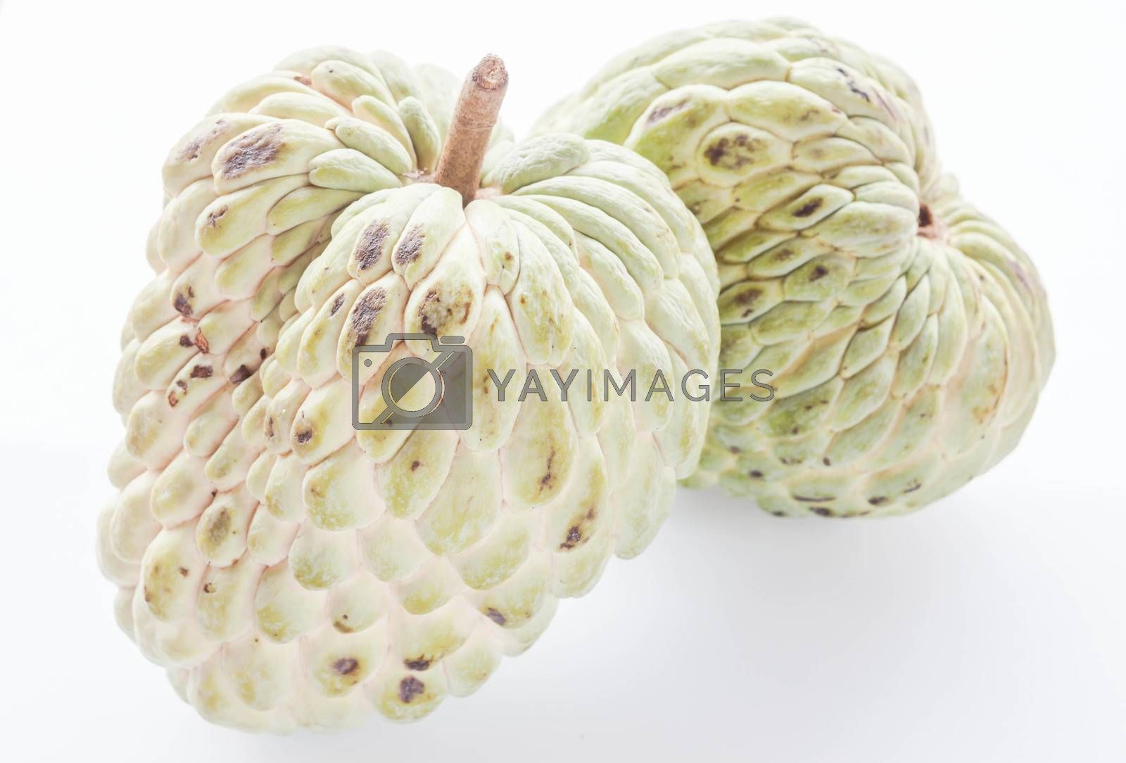 Sweet fruit of sugar apple isolated on white background