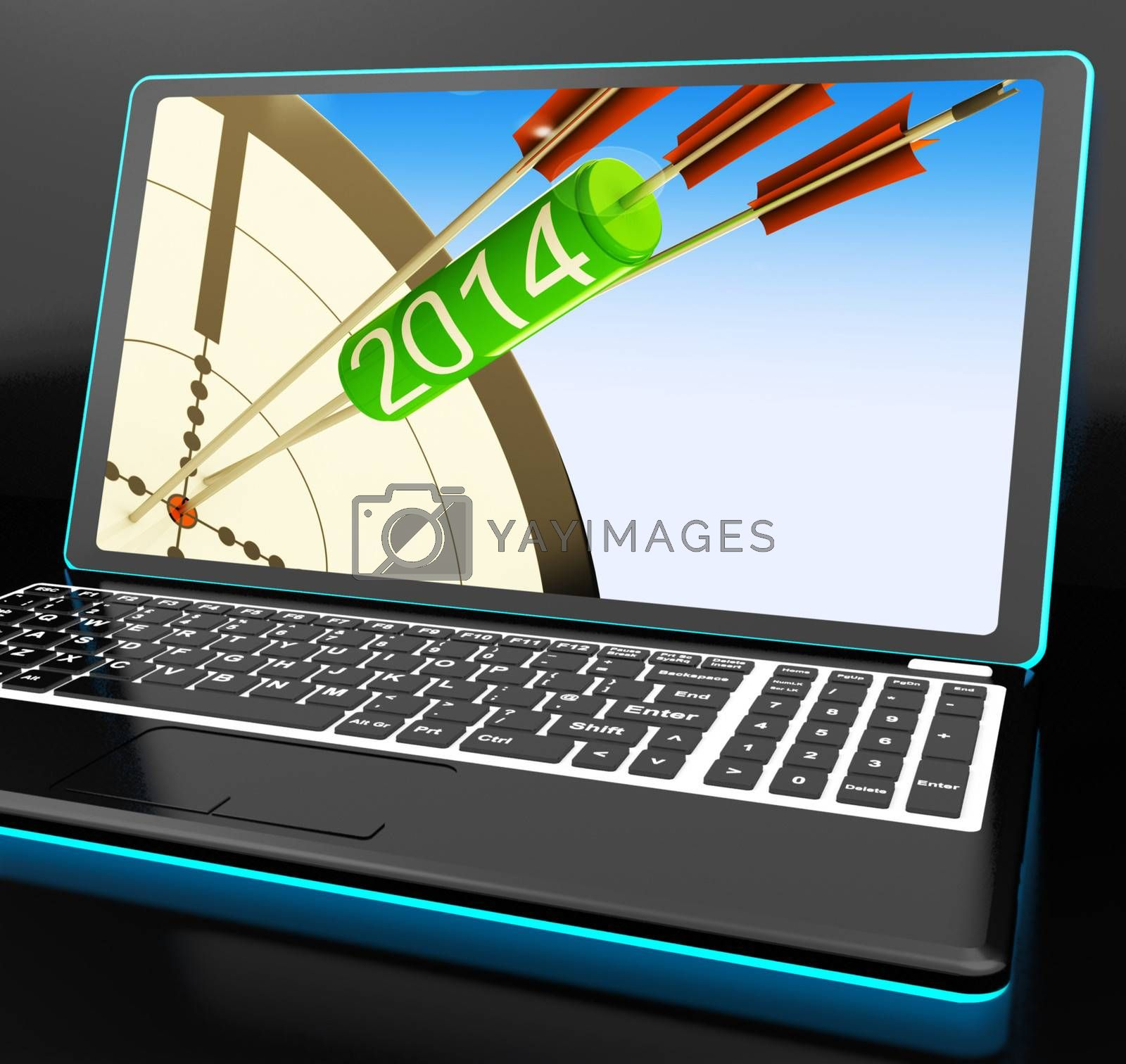 2014 Arrows On Laptop Showing Festivities by stuartmiles