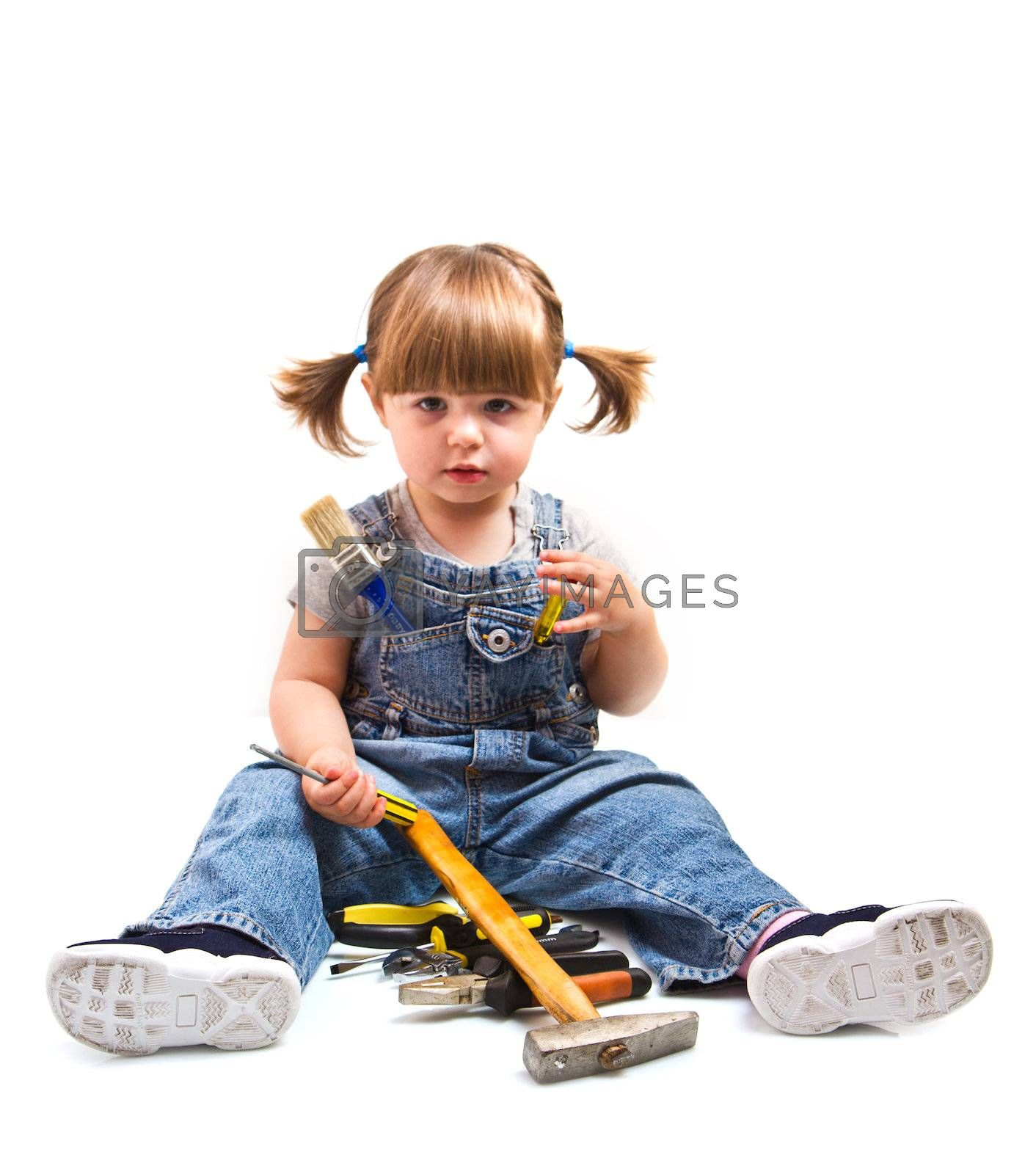 baby girl with working tool