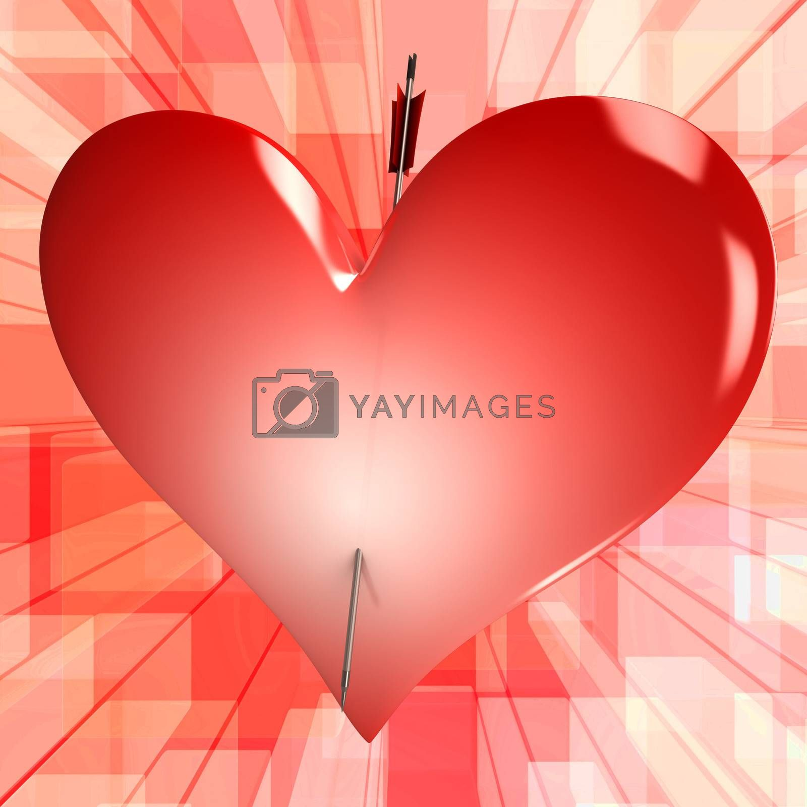 Red Heart Showing Perfect Couple For Romance Wedding