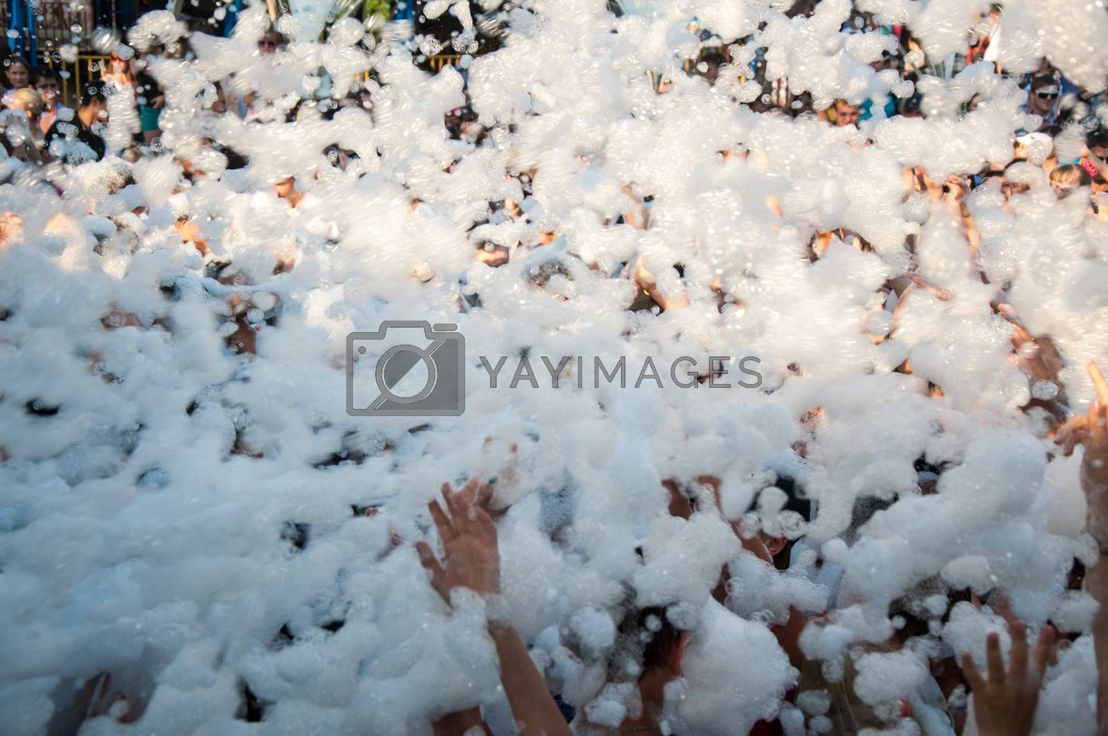 Summer. Heat. Refreshing shower foam. Holiday Ivan Kupala Park in Poplar , city of Orenburg
