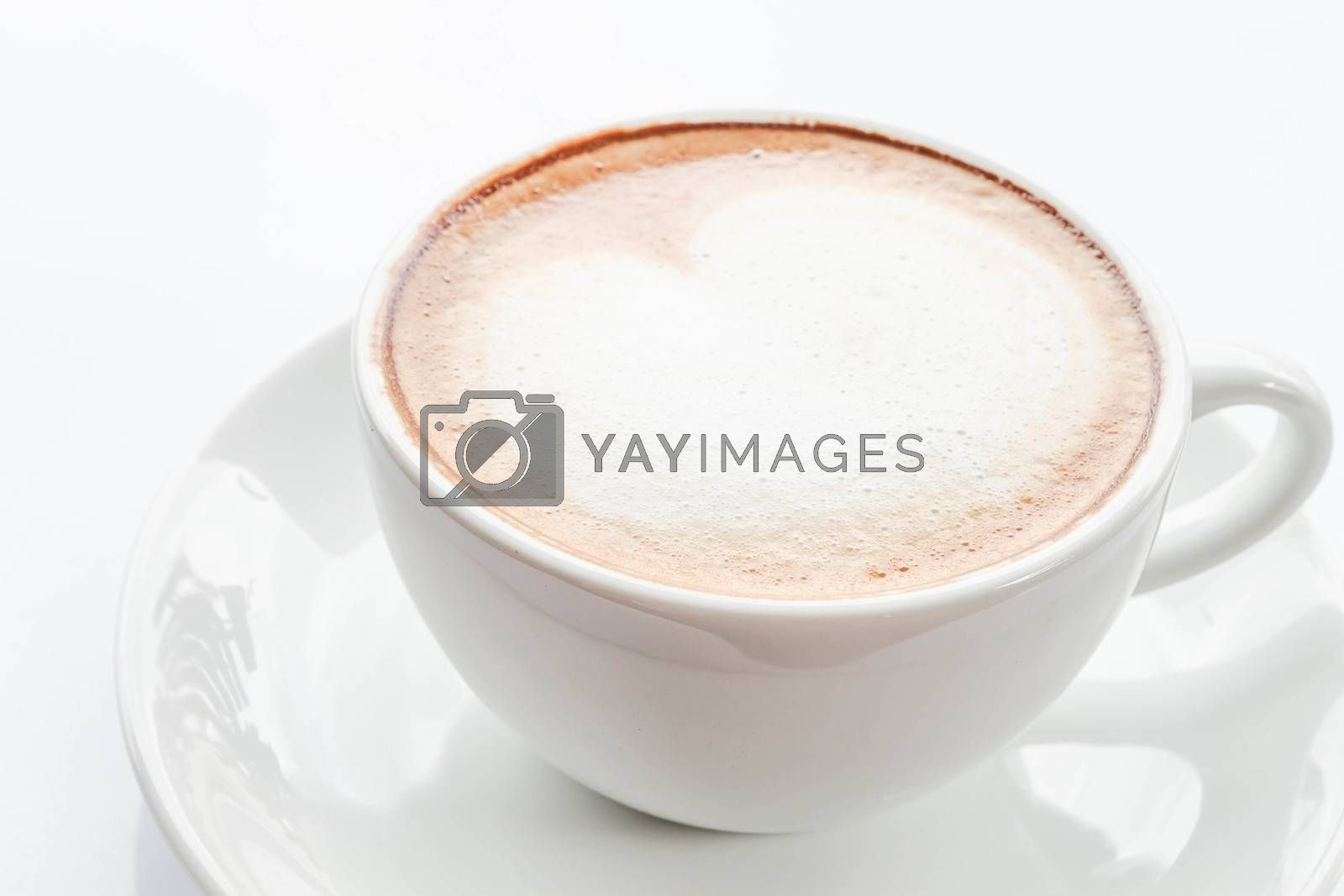 Hot coffee latte isolated on white background
