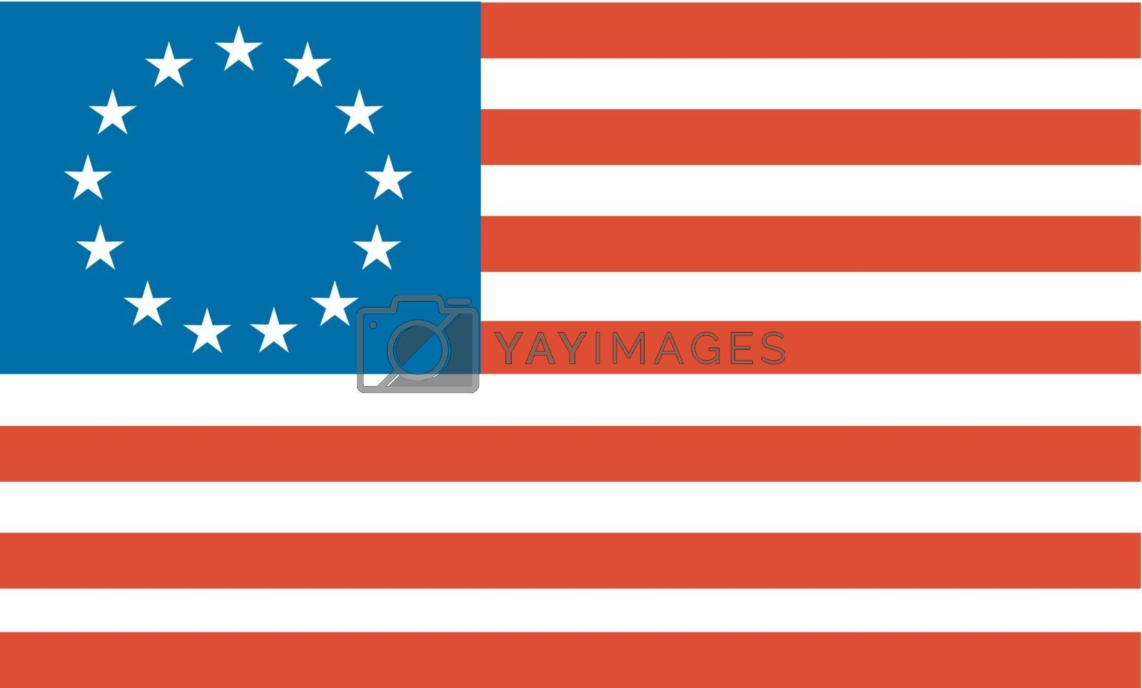Illustration of an American Betsy Ross stars and stripes flag.