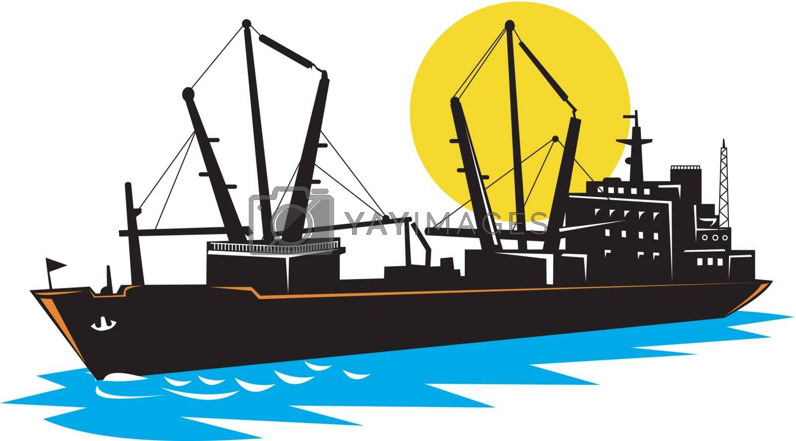 Illustration of a cargo ship at sea on isolated white background.