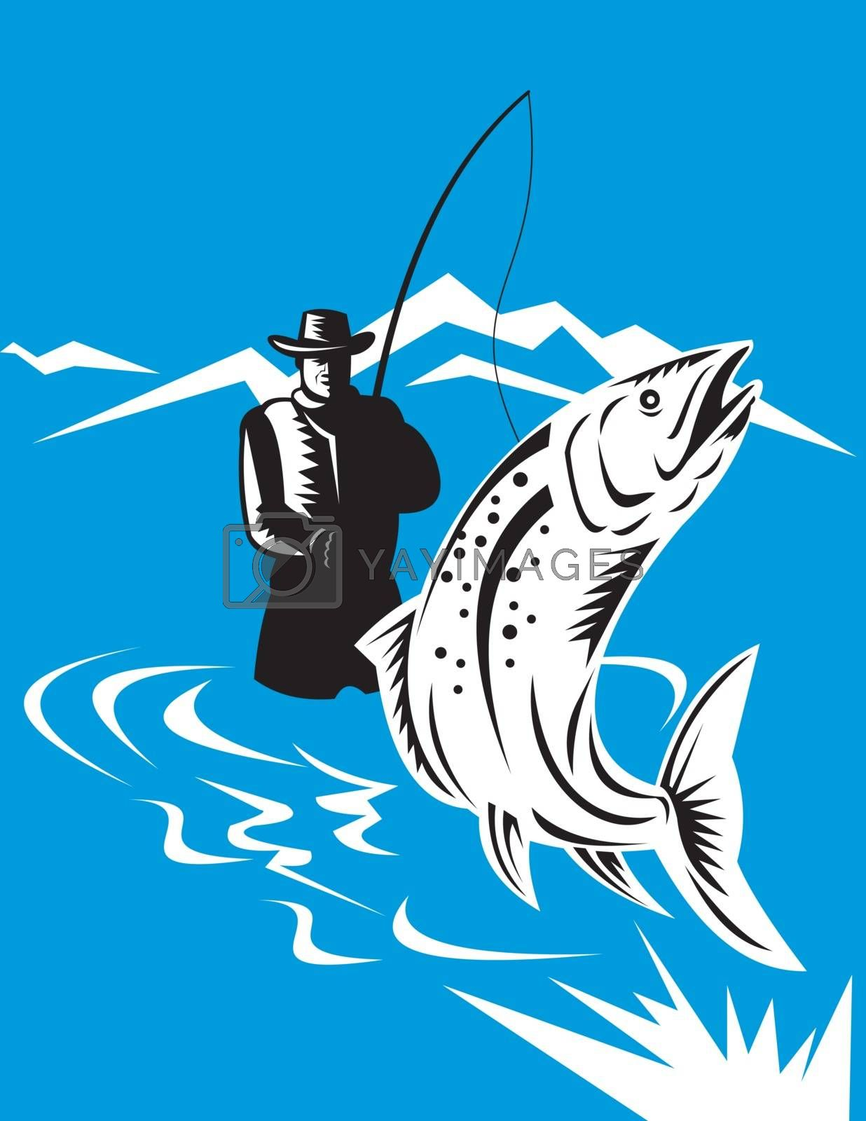 illustration of a trout fish jumping reeled by fly fisherman done in retro style