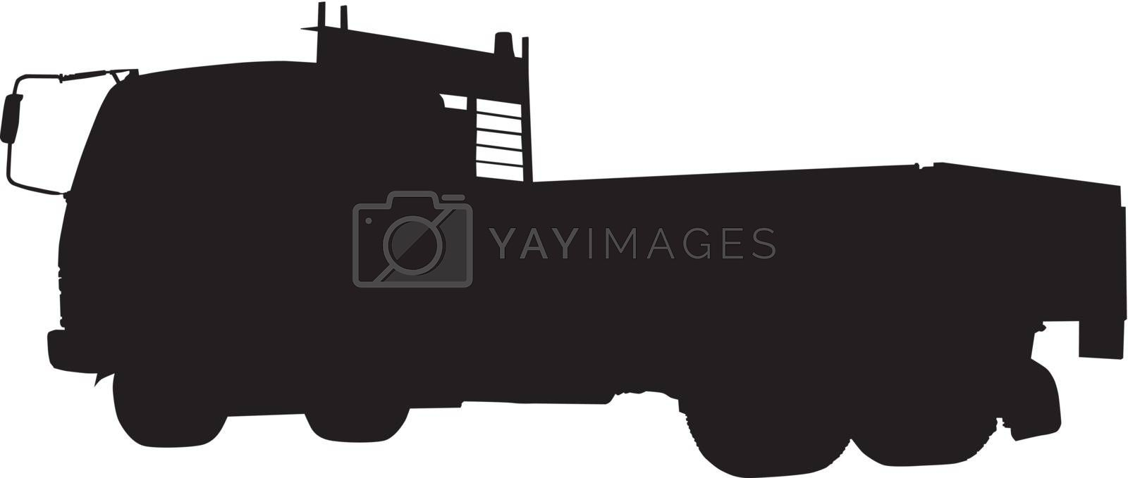 silhouette of a tipper or dump truck lorry done in retro style on isolated background