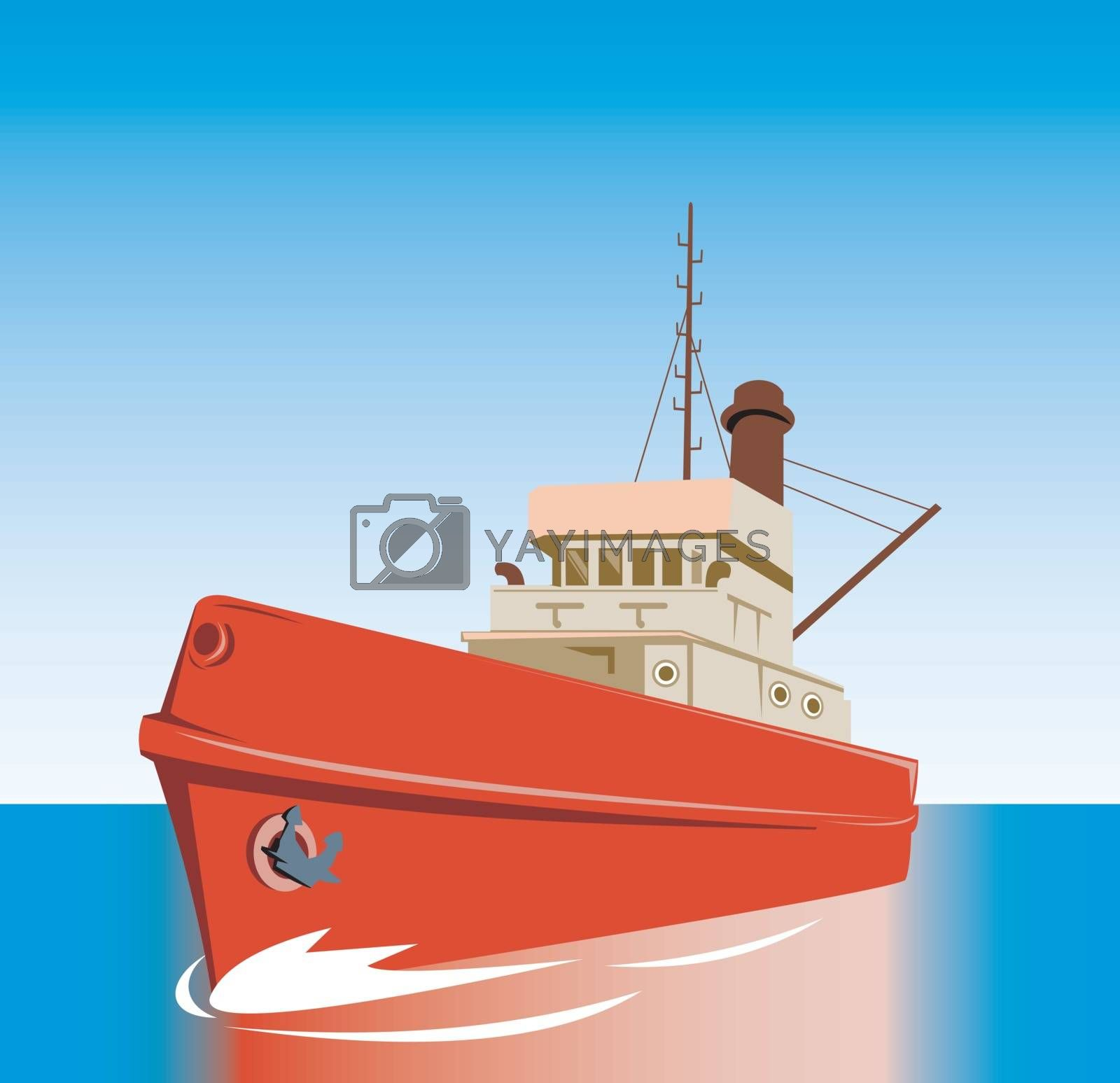 illustration of a tug boat done in retro style