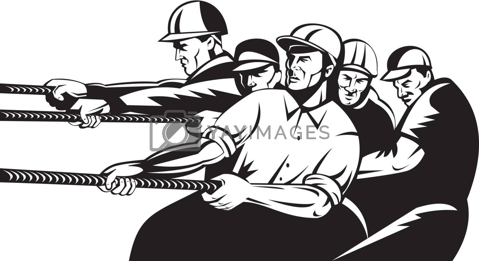 illustration of a team of construction worker pulling rope done in retro style