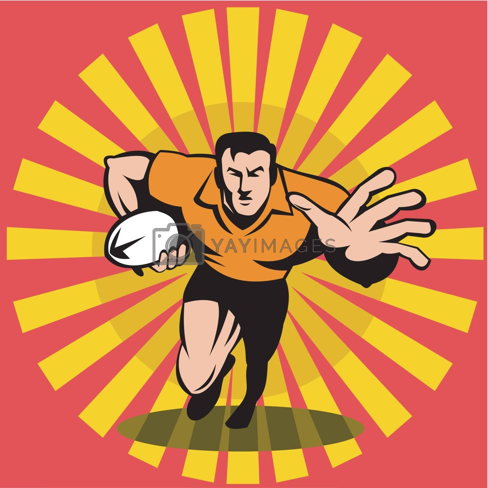 illustration of a rugby player running fending attacking with the ball done in retro woodcut style