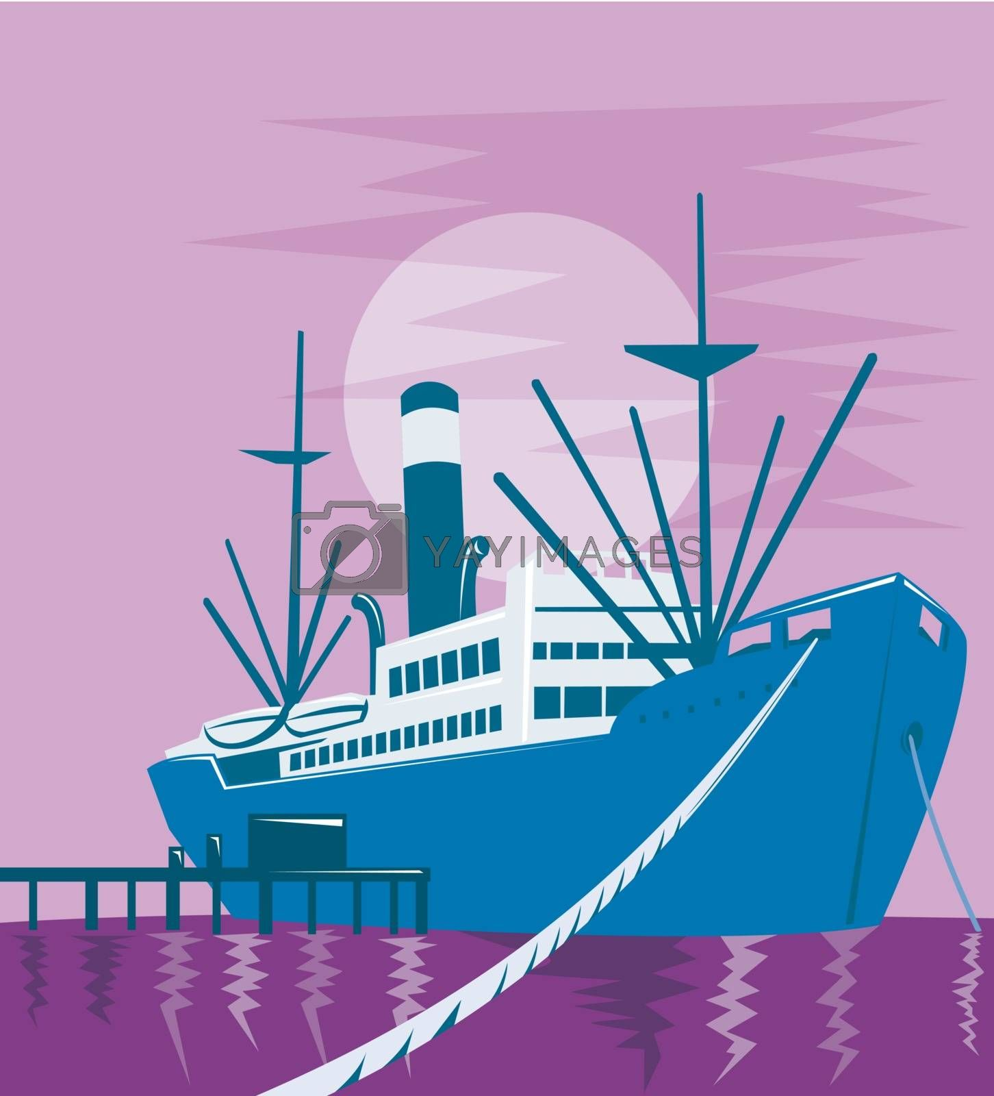 illustration of a passenger cargo ship at the docks or pier done in retro style