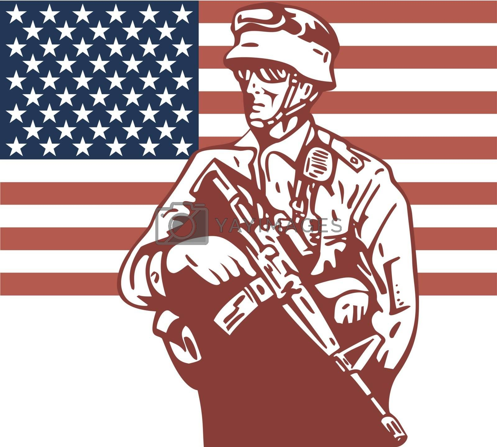 illustration of an American soldier serviceman carrying armalite rifle with stars and stripes flag in background