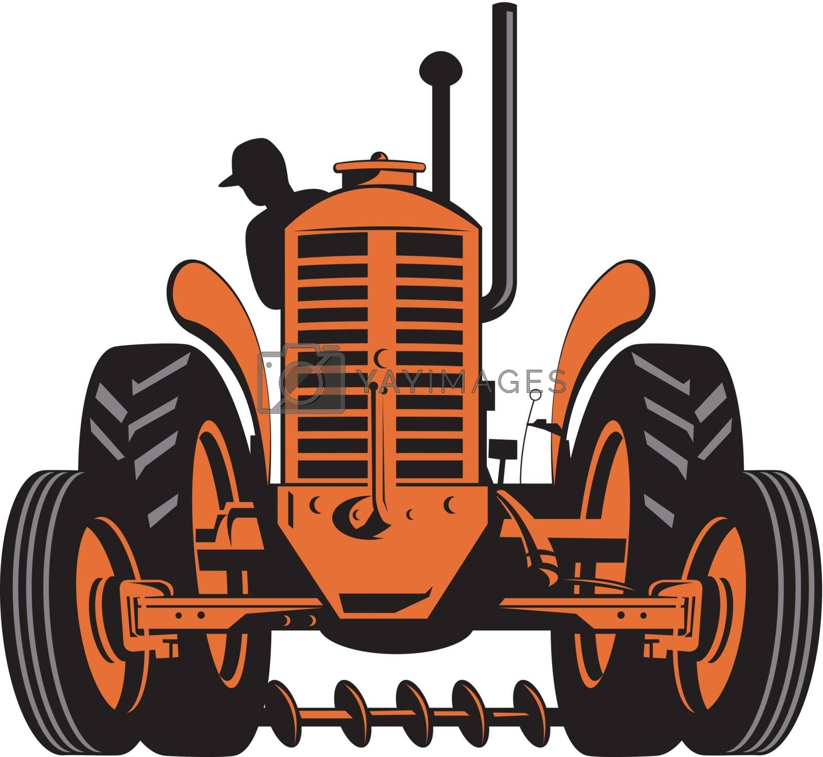 illustration of a vintage tractor on isolated background done in retro style