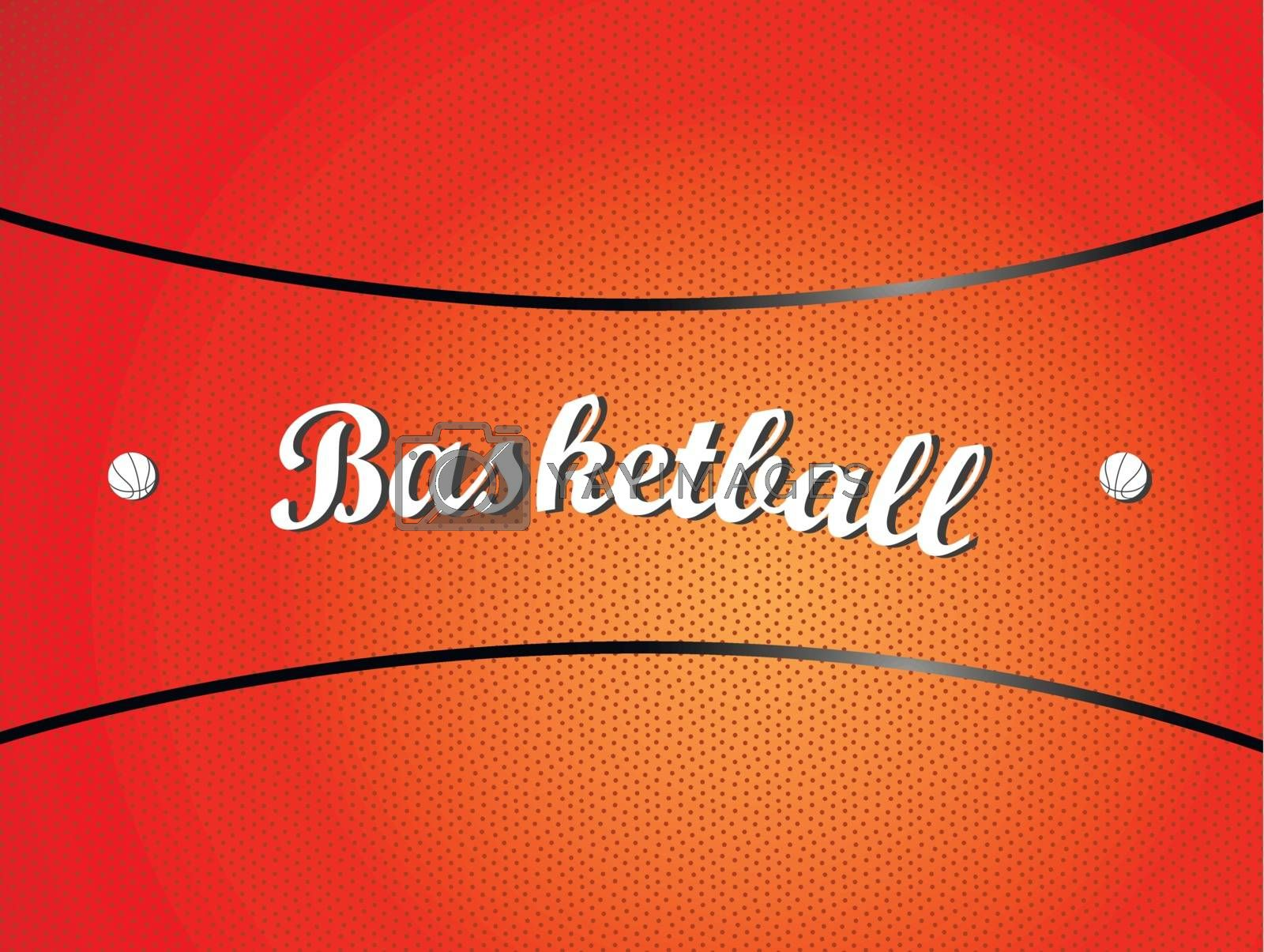 Vector illustration of a basketball texture with text