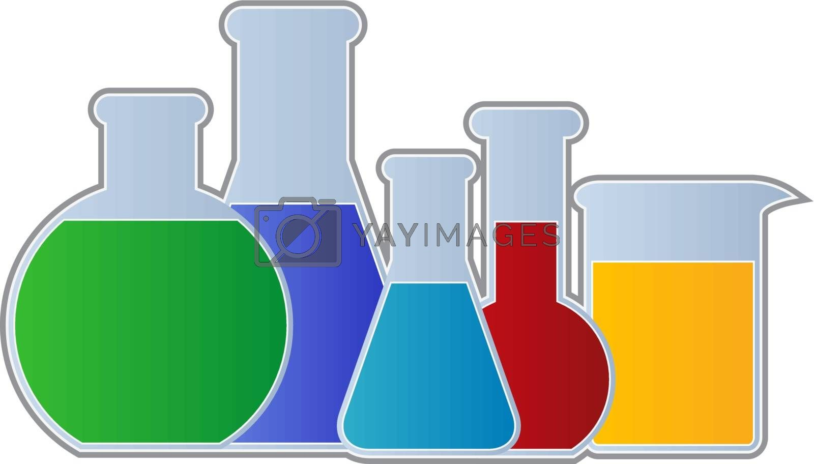 Chemistry Equipment including flasks and beaker isolated