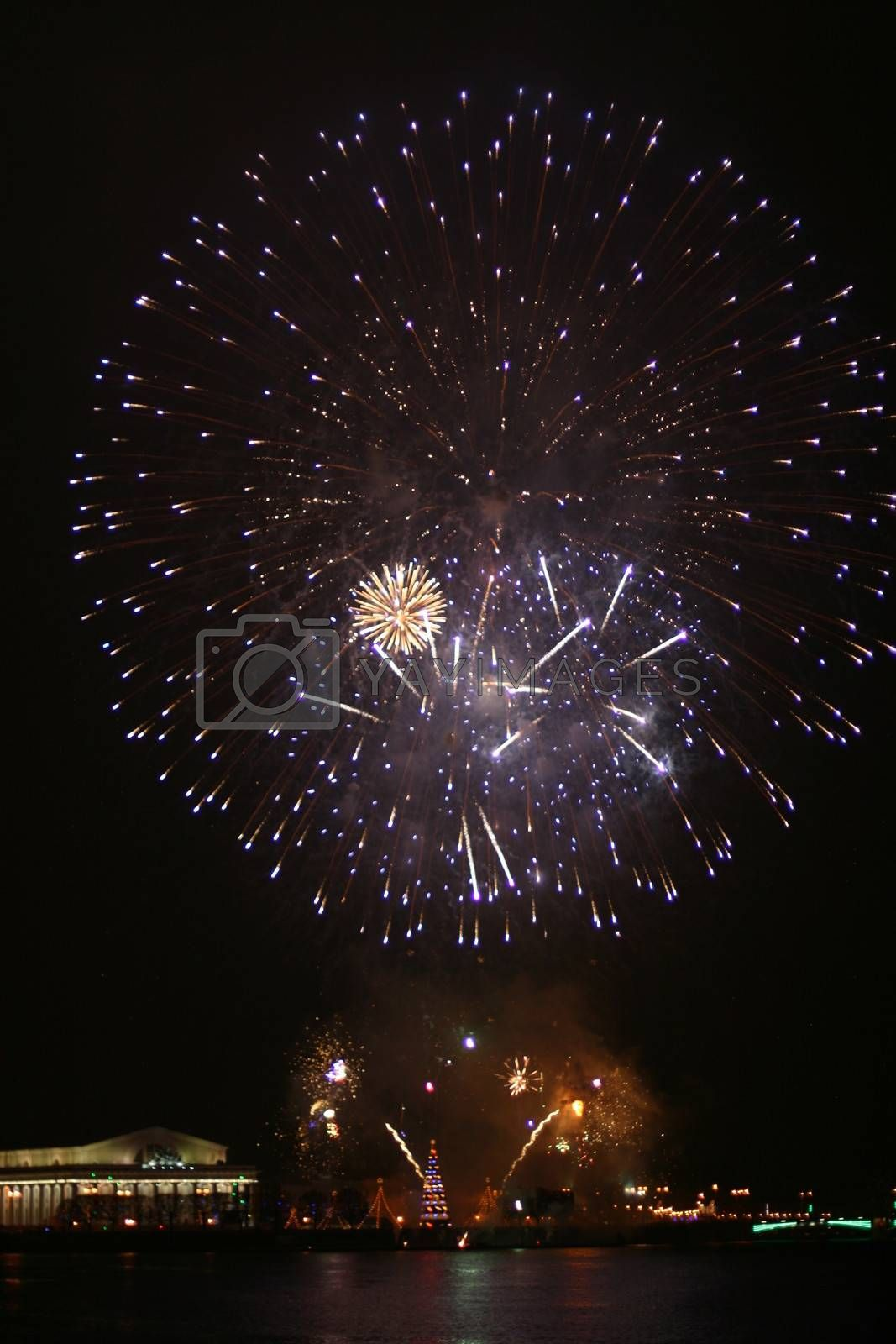 beautiful fireworks at night Saint-Petersburg