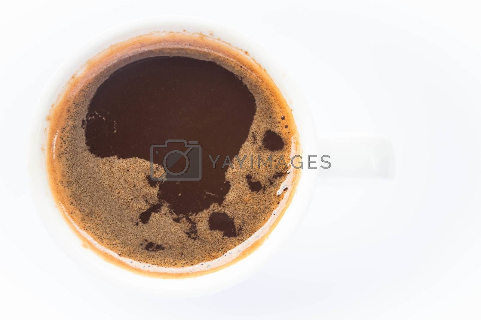 White cup of espresso isolated on white background