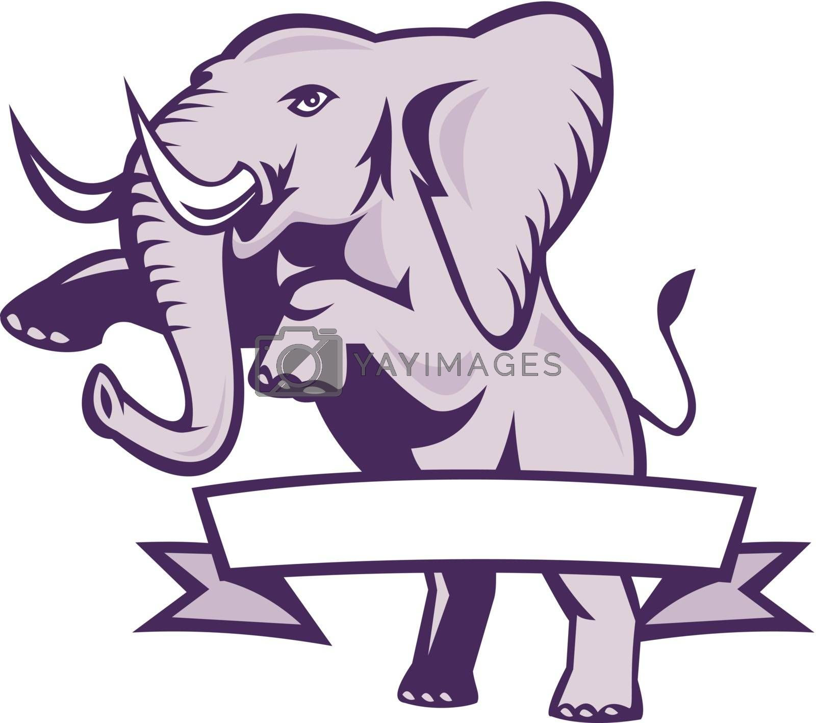Illustration of an african elephant prancing with ribbon scroll wrapped around done in retro style on isolated white background.