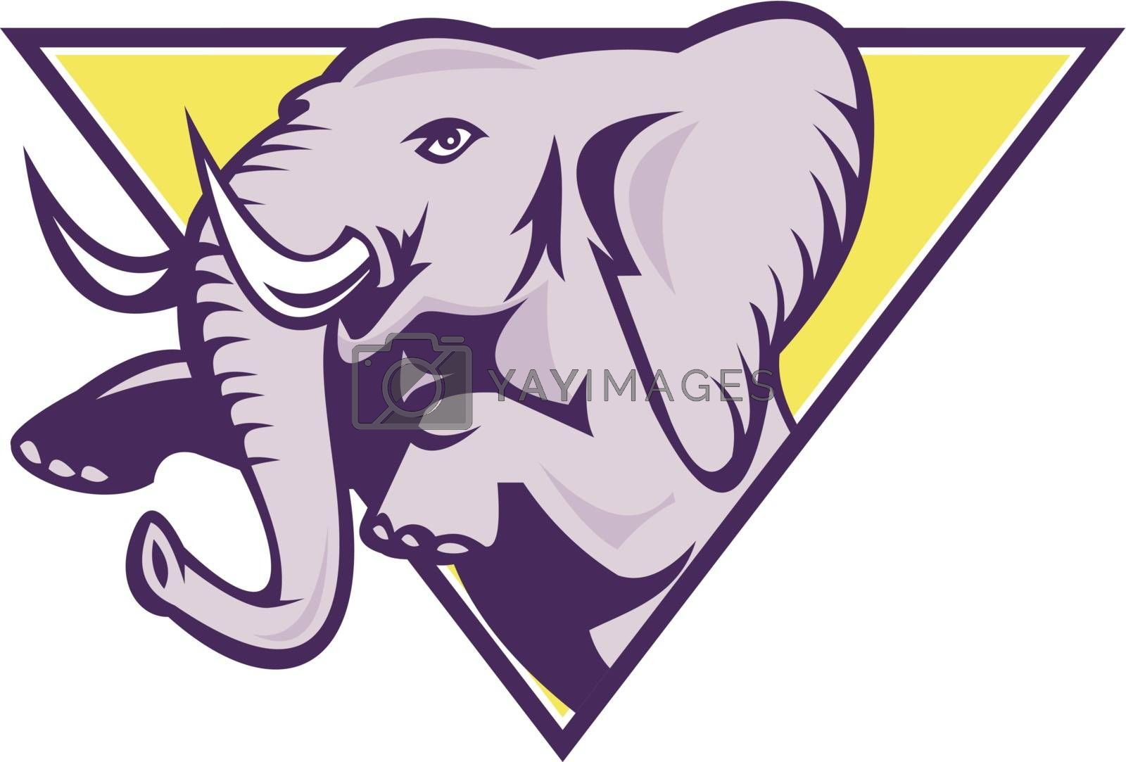 Illustration of an african elephant prancing set inside inverted triangle done in retro style on isolated white background.