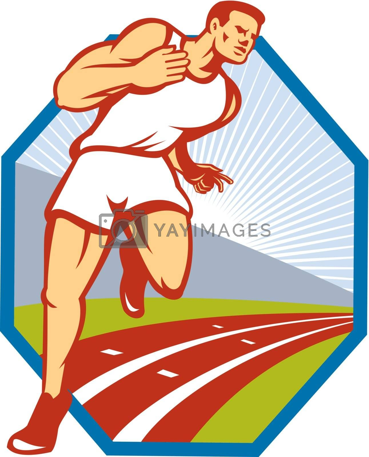 Illustration of a marathon runner track and field athlete running on race track done in retro style set inside hexagon.