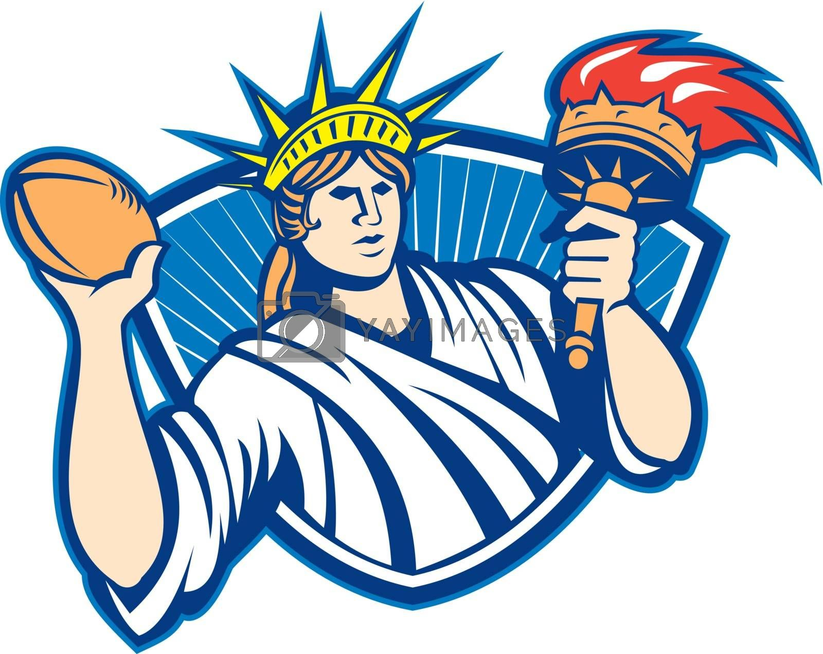 Illustration of statue of liberty throwing American football rugby ball holding torch on isolated white background.