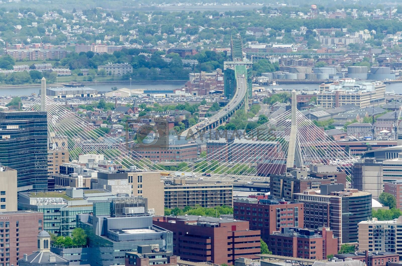 Aerial View of Central Boston from the Prudential Tower