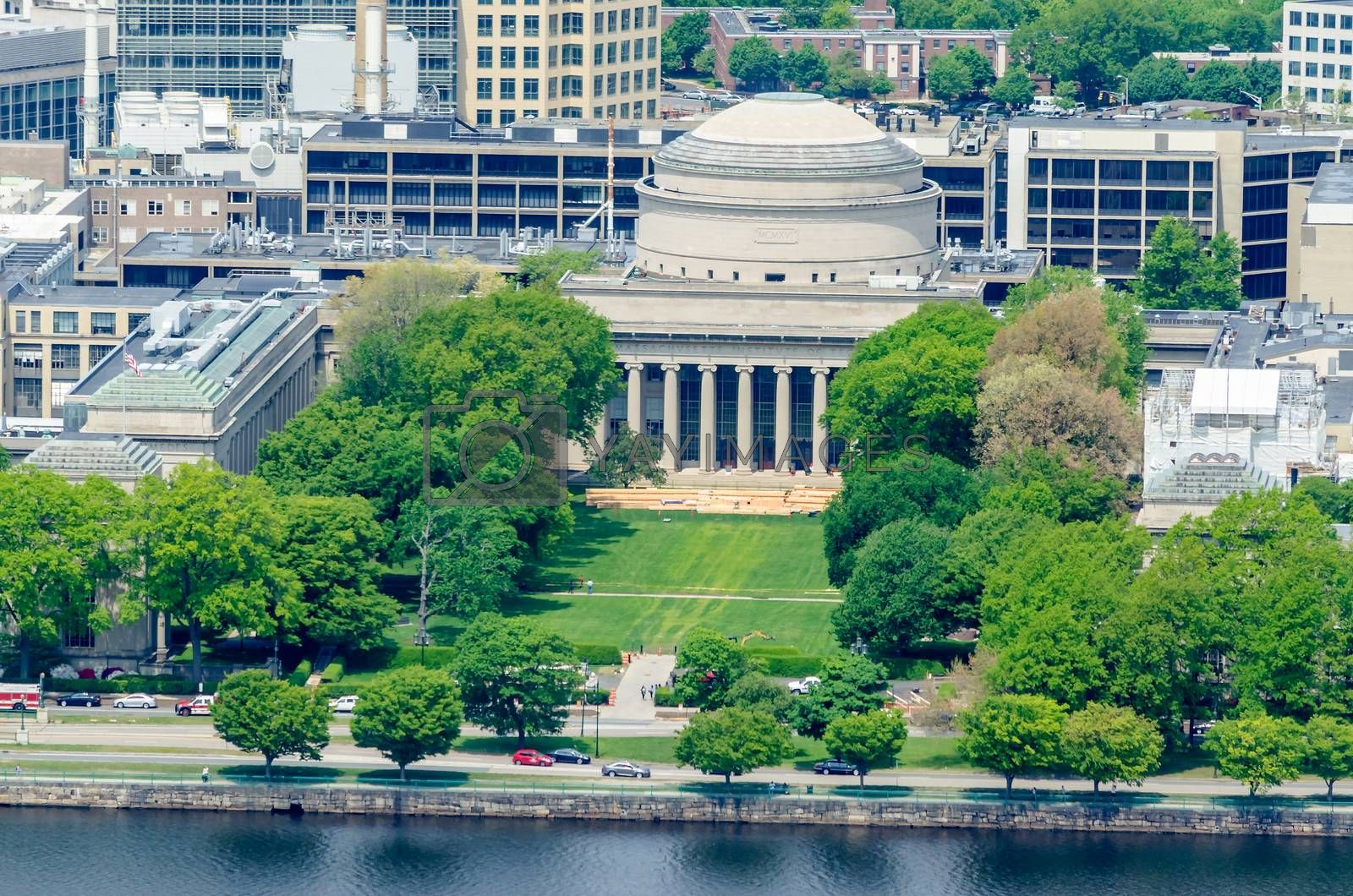Boston Massachusetts Institute of Technology campus with trees and lawn aerial view with Charles River from Prudential Tower