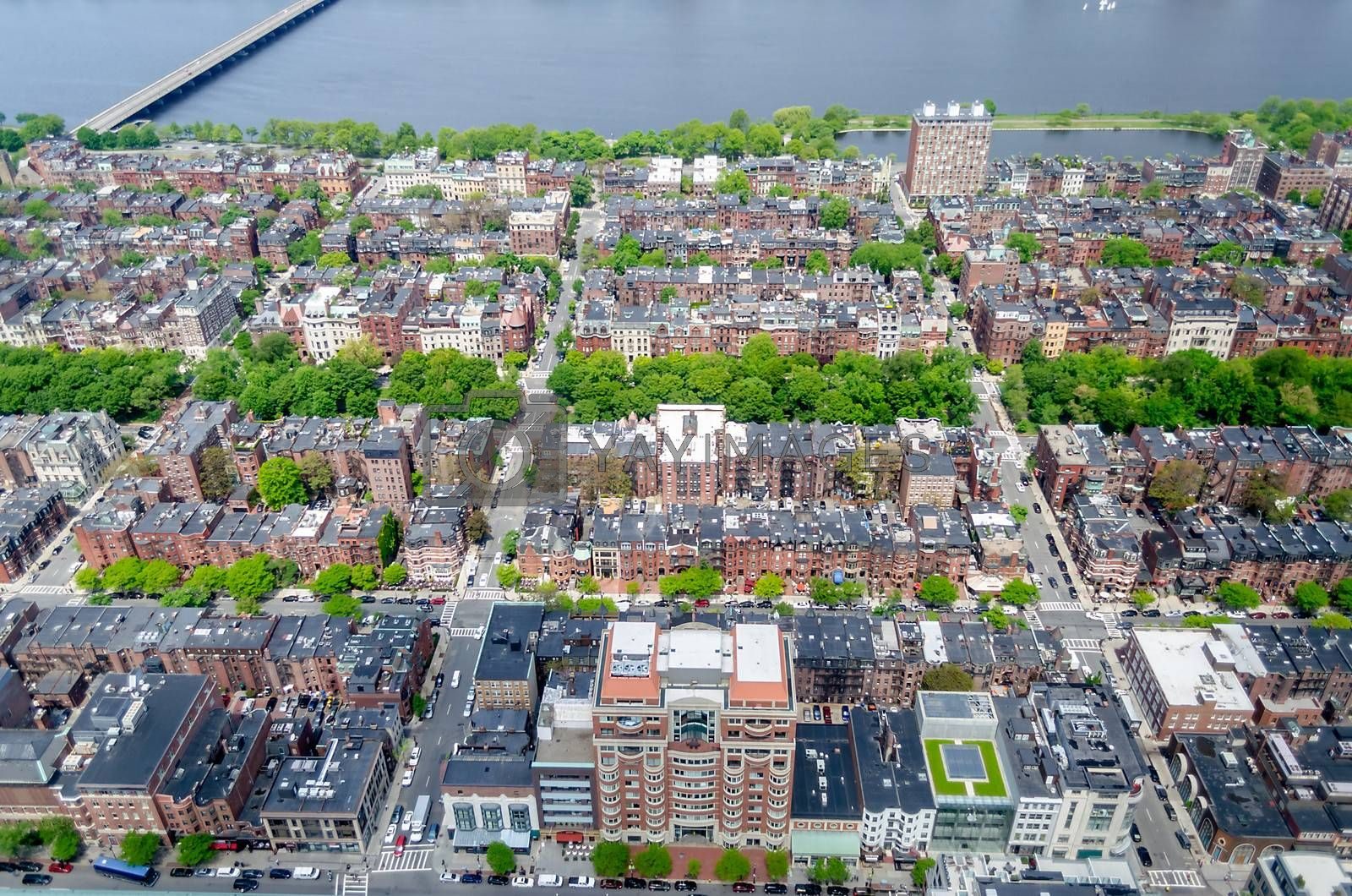 Aerial View of the Beacon Hill District and Charles River, Boston, USA