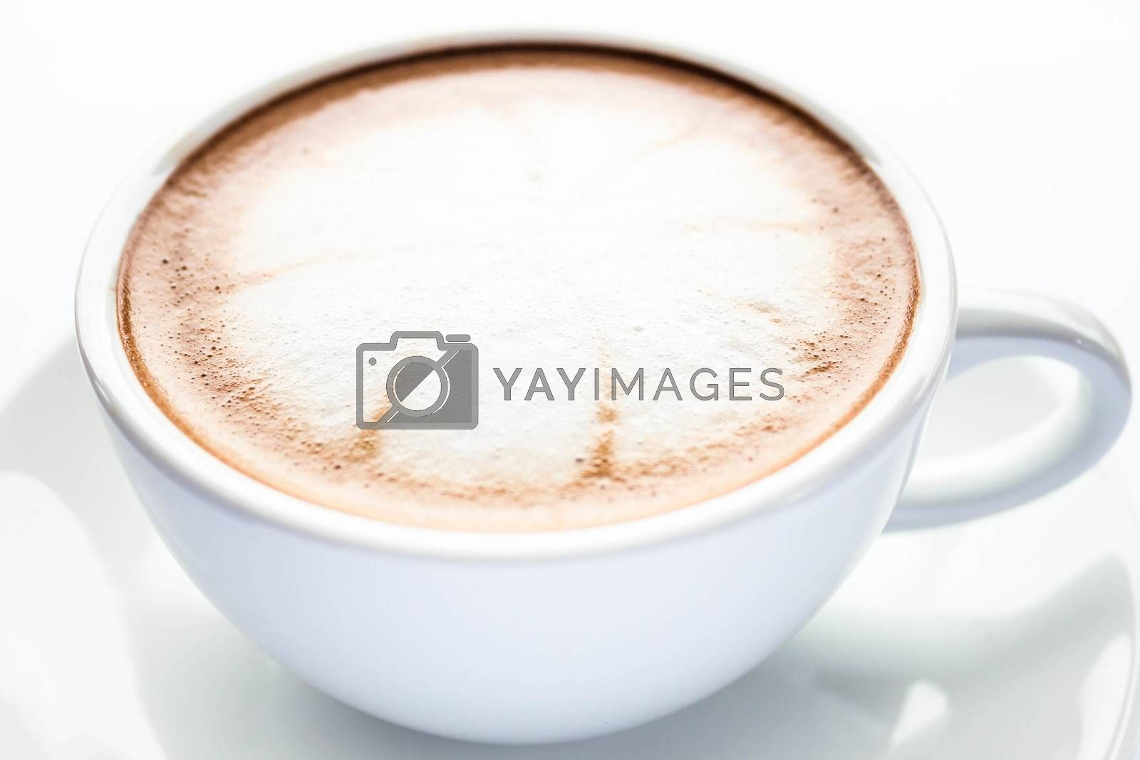 Cup of hot cafe mocha isolated on white background