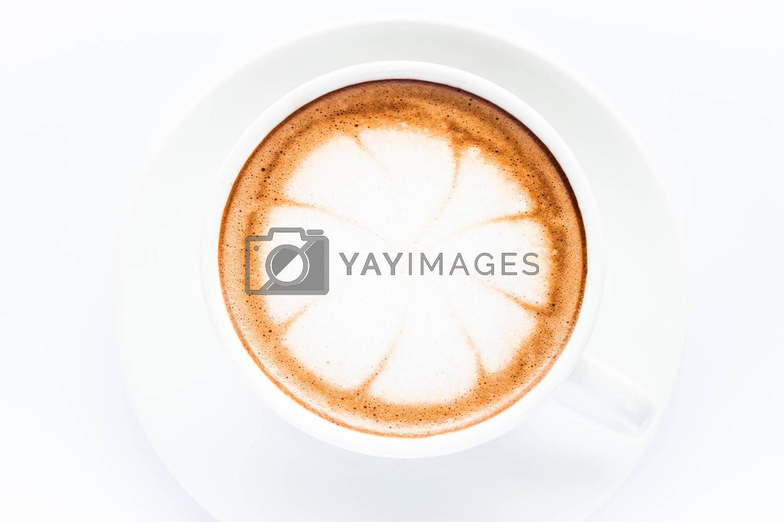 cup of hot mocha isolated on white background