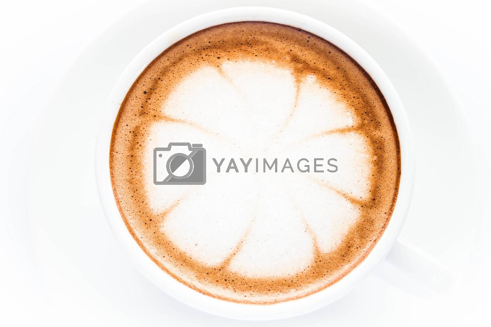 Beautiful cup of hot cafe mocha isolated on white background