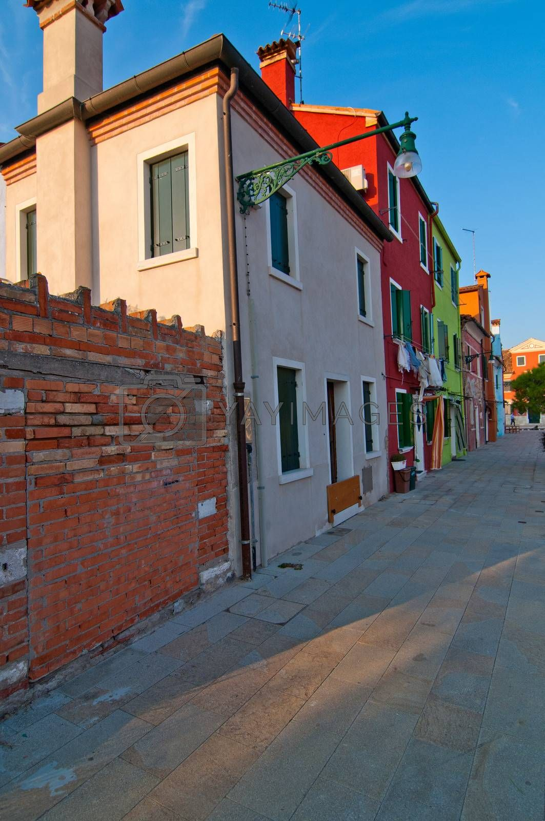 Italy Venice Burano island with traditional colorful houses