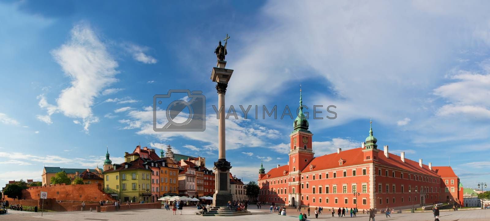 Panorama of the old town in Warsaw, Poland. The Royal Castle and Sigismund's Column called Kolumna Zygmunta