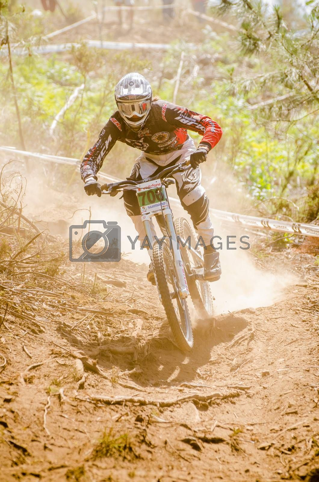 GOIS, PORTUGAL - JUNE 23: Silas Grandy during the 4th Stage of the Taca de Portugal Downhill Vodafone on june 23, 2013 in Gois, Portugal.