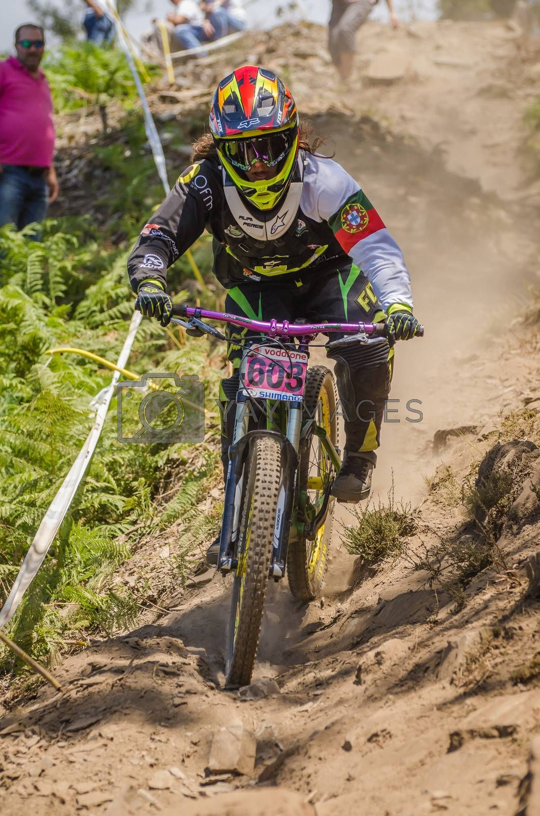 GOIS, PORTUGAL - JUNE 23: Filipa Peres during the 4th Stage of the Taca de Portugal Downhill Vodafone on june 23, 2013 in Gois, Portugal.