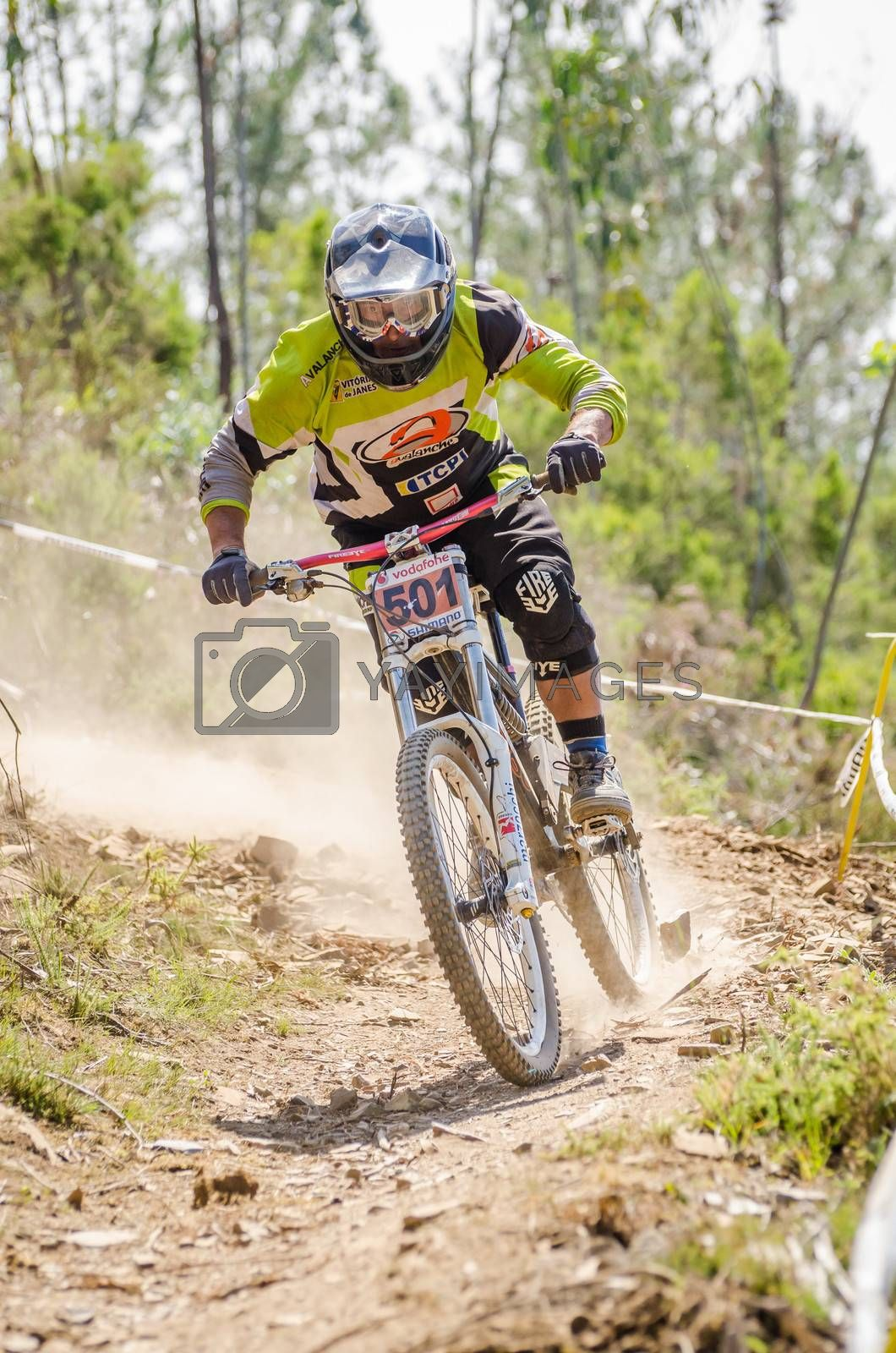GOIS, PORTUGAL - JUNE 23: Jose Salgueiro during the 4th Stage of the Taca de Portugal Downhill Vodafone on june 23, 2013 in Gois, Portugal.