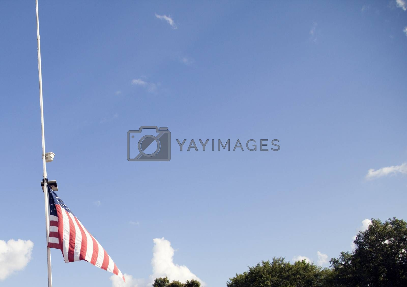 American flag at half mast with tree tops in the background
