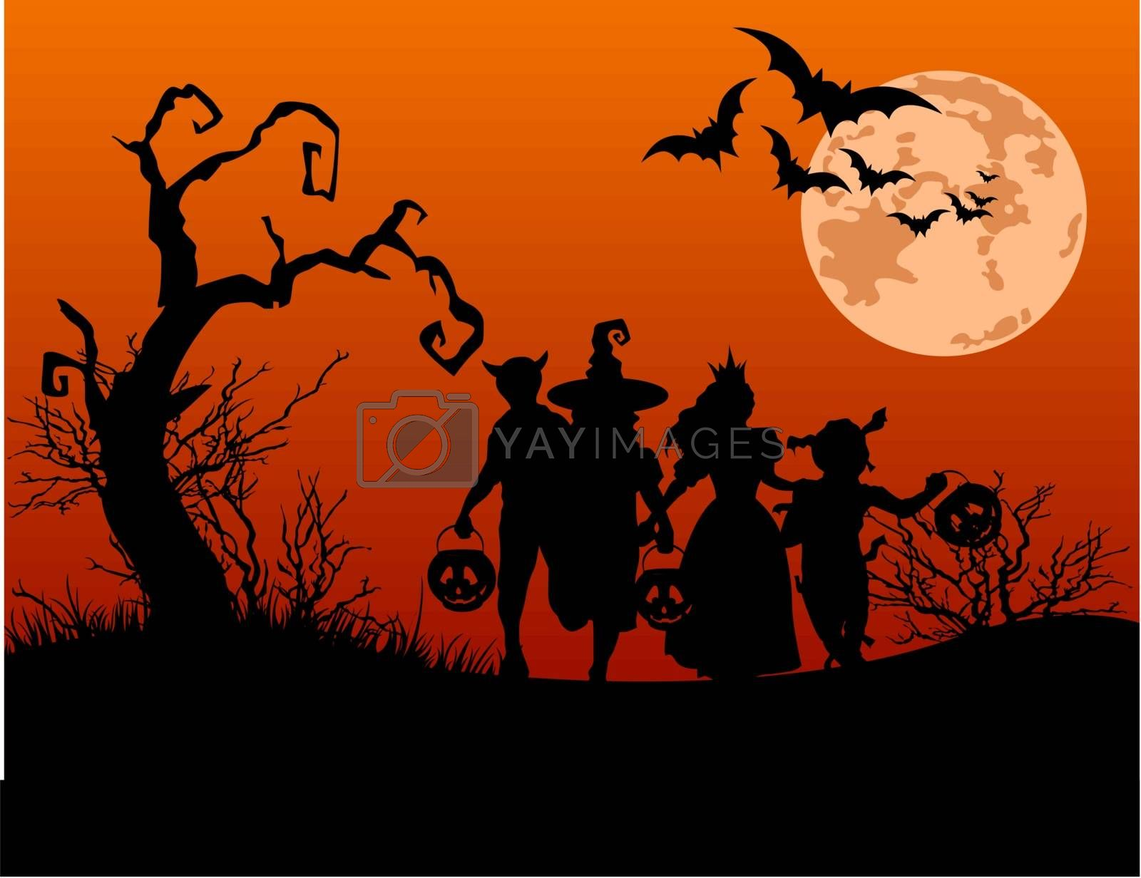 Halloween background with silhouettes of children trick or treating in Halloween costume