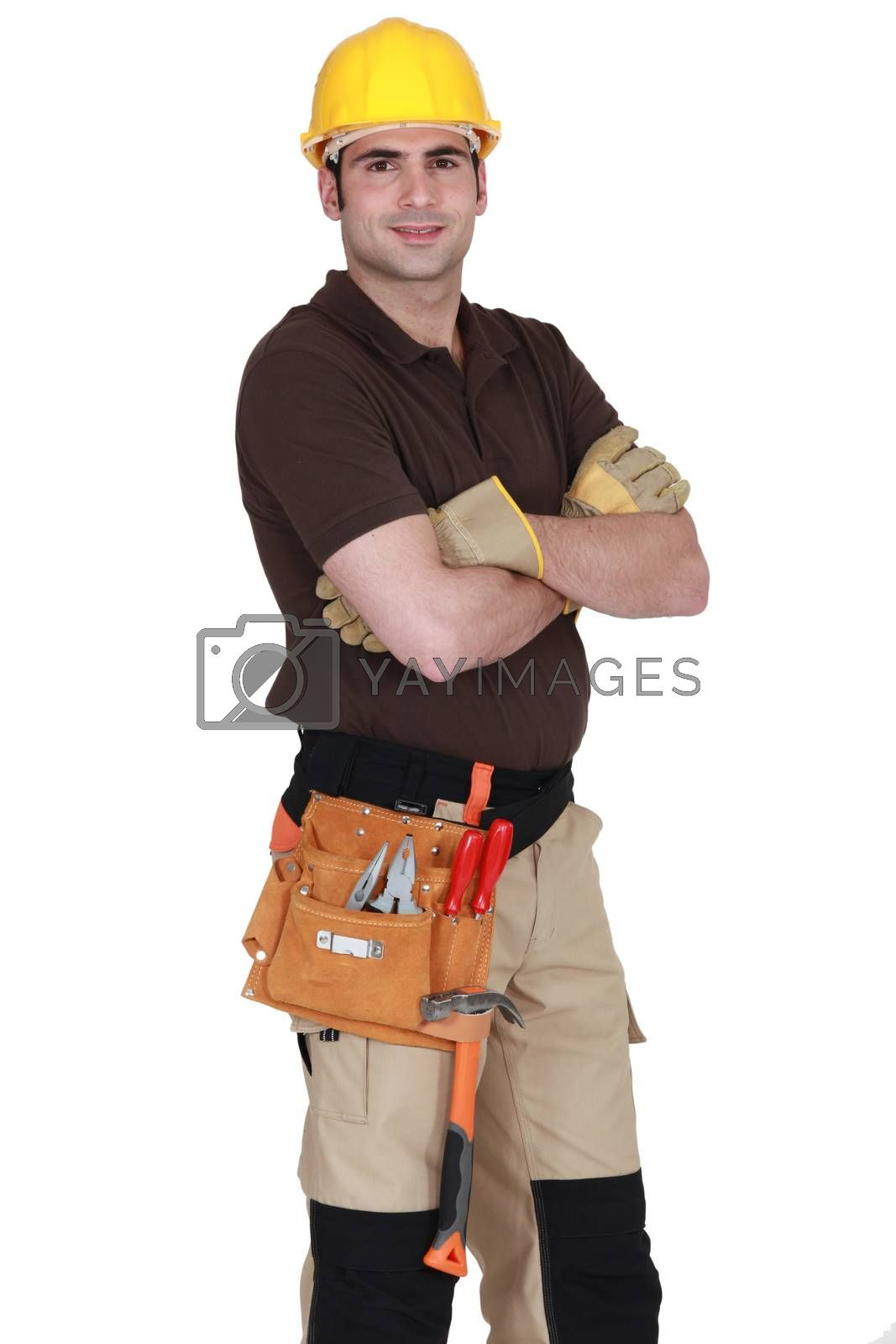 An handyman posing