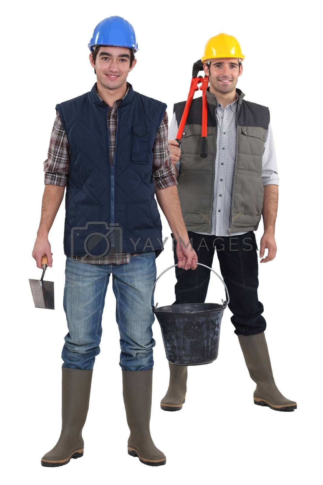 Two constructions workers stood together