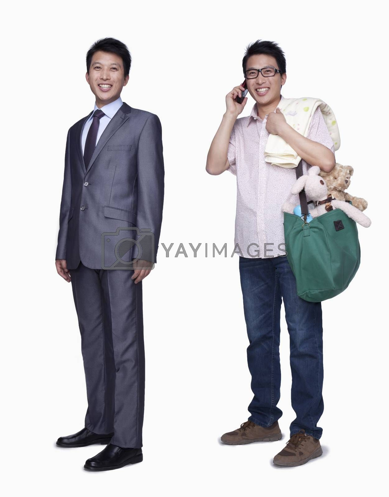 Businessman and stay in home father