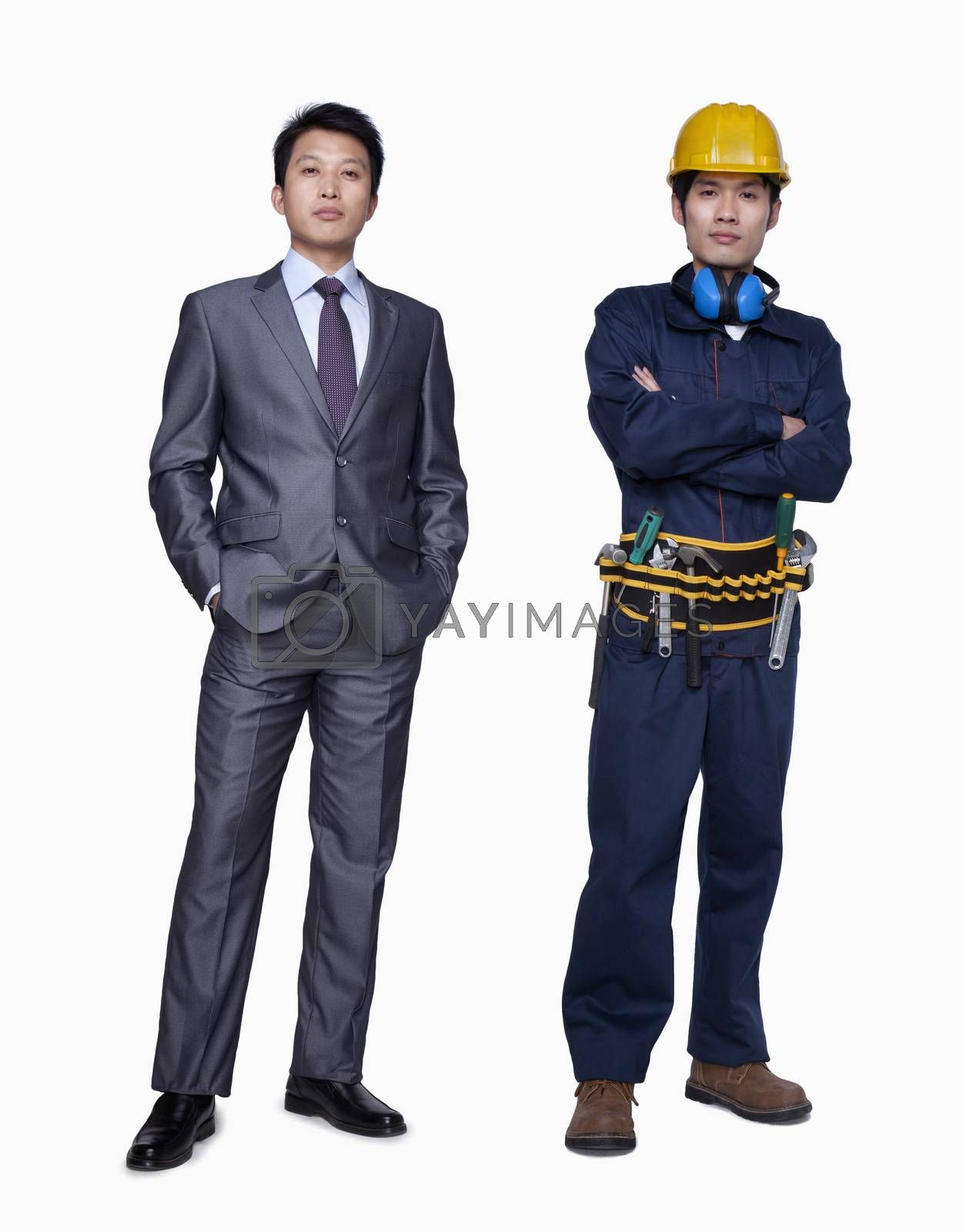 Businessman and construction worker