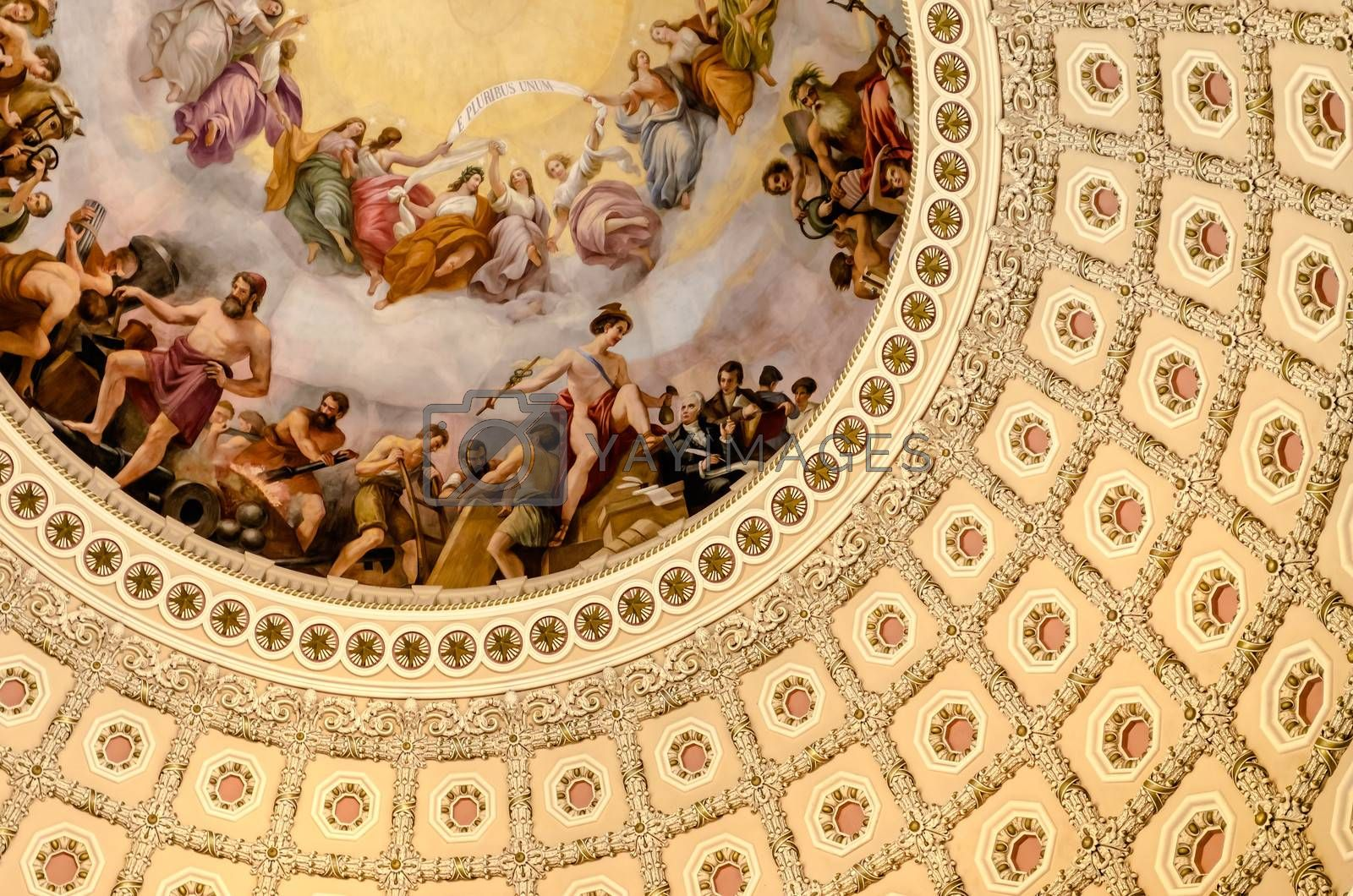 US Capitol Rotunda, detail of the interior decoration