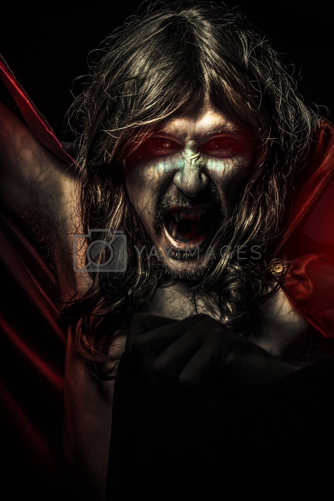 Nightmare, Young Vampire with black coat and long hair, nude